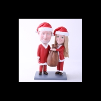 Custom Bobblehead Doll: Santa Couple Holding Gift Bag