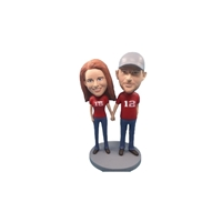 Custom Bobblehead Doll: Casual Couple Hands in Hands