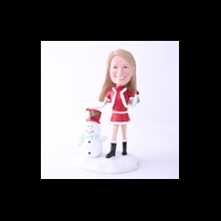 Custom Bobblehead Doll: Santa Girl With Snowman