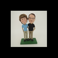 Custom Bobblehead Doll: Arm Behind Each Other Couple On Golf