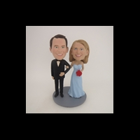 Custom Bobblehead Doll: Arms Around Each Other Retro Wedding Couple