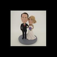 Custom Bobblehead Doll: Arms Around Each Other Wedding Couple