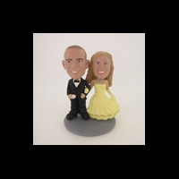 Custom Bobblehead Doll: Arms Linked Bride And Groom