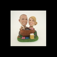 Custom Bobblehead Doll: Bath Couple