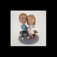 Custom Bobblehead Doll: Bench Sitting Couple