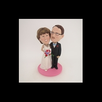 Custom Bobblehead Doll: Black Suit And White Wedding Dress Arm Behind