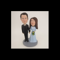 Custom Bobblehead Doll: Black Suit Groom Hand In Hand Couple