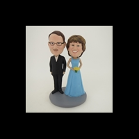 Custom Bobblehead Doll: Black Suit Man And Bride