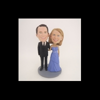 Custom Bobblehead Doll: Black Suit Man and Purple Dress Woman
