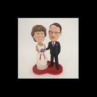 Custom Bobblehead Doll: Bride And Groom On Heart