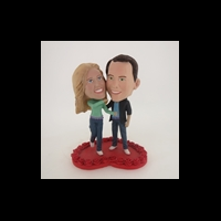 Custom Bobblehead Doll: Couple On Heart