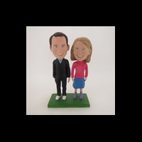 Custom Bobblehead Doll: Couple Standing on Lawn