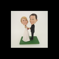 Custom Bobblehead Doll: Groom Holding Bride's Hand Wedding