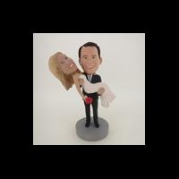 Custom Bobblehead Doll: Groom Holds Wife