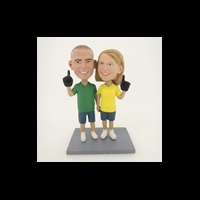 Custom Bobblehead Doll: Hand In Hand Baseball Fun Couple