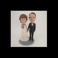 Custom Bobblehead Doll: Hand In Hand Wedding Couple