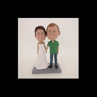 Custom Bobblehead Doll: Hand In Hand White Dress Bride Couple