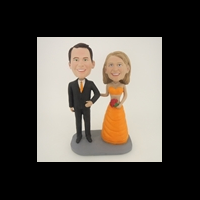 Custom Bobblehead Doll: Happy Arms Linked Bride And Groom