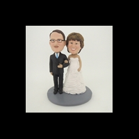 Custom Bobblehead Doll: Happy Arms Linked Man and Woman