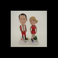 Custom Bobblehead Doll: Happy Christmas Couple