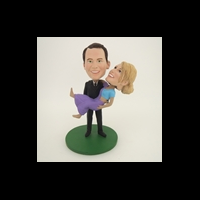 Custom Bobblehead Doll: Holding Girlfriend Couple