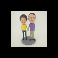 Custom Bobblehead Doll: Holding Hands Man And Woman