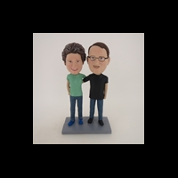 Custom Bobblehead Doll: Man and Woman Arm Behind Each Other