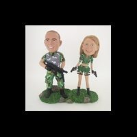 Custom Bobblehead Doll: Military Couple With Weapons
