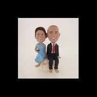 Custom Bobblehead Doll: Stone Sitting Couple