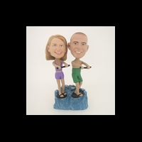 Custom Bobblehead Doll: Surfing Couple