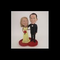 Custom Bobblehead Doll: Wedding Couple On Heart