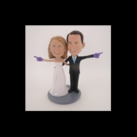 Custom Bobblehead Doll: We're Number One Wedding Couple