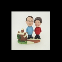Custom Bobblehead Doll: Woman And Man With Beautiful House