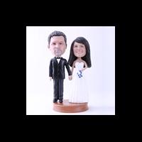 Custom Bobblehead Doll: Black Suit Groom and White Dressed Bride on We