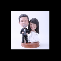 Custom Bobblehead Doll: Black Suit Groom and White Dressed Bride