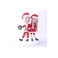 Custom Bobblehead Doll: Santa Couple Hand In Hand